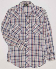 48355d04 Vintage Sears Western Wear Men's Shirt Medium 1960's 70's Plaid Pearl Snap  15.5 #Sears #