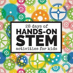 28 days of hands-on STEM activities for kids: coding, STEM challenges, STEM on a budget, and more. Good for young children! Stem Science, Preschool Science, Science For Kids, Science Activities, Activities For Kids, Science Experiments, Science Ideas, Math Stem, Stem Activities For Kindergarten
