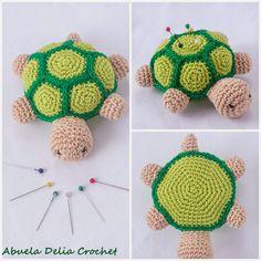 Abuela Delia Crochet: Alfiletero Tortuga | Turtle Pincushion Crochet Cat Pattern, Easy Crochet Patterns, Crochet Patterns Amigurumi, Amigurumi Doll, Crochet Toys, Basic Crochet Stitches, Crochet Basics, Diy Crochet Animals, Crochet Pincushion