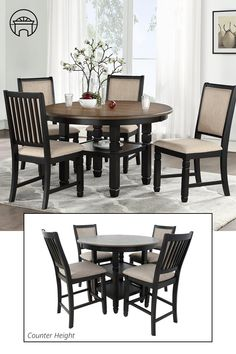 The Prairie Point Dining Set is a beautiful rendition of traditional style dining and classy color-contrast. The deep black finish illuminates the light fabric, upholstered counter chairs. Two convenient shelves increase the functionality of this set. Treat yourself to traditional dining with impressive design elements. #diningsets #counterheighttable #dining #kitchentable #breakfastnook #counterhieghtdiningset