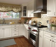 Find This Pin And More On Kitchen By Rachmerson Off White Cabinets White With Granite Counter Tops
