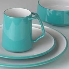 love the mug handle design  Kobenstyle Teal Dinnerware by Dansk