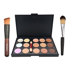 Ucanbe 15 Color Concealer Palette Cream Contour Kit With Pro Foundation Concealer Face Contouring Powder Makeup Brushes -- Find out more about the great product at the image link. Note:It is Affiliate Link to Amazon.