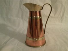 Vintage Brass and Copper Tankard Pitcher Made in by CraftBinge, $10.99
