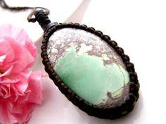 Lucin Variscite necklace, Variscite jewelry,  Variscite pendant, Healing Gift, Healing stones and crystal, Macrame necklace, Stress relief