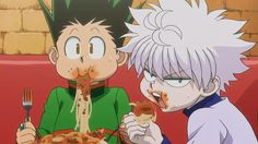 """Hunter x Hunter 2011 Gon & Killua Eating XD their faces! Gon just looks kind of confused like 'Huh?' and killua looks annoyed like """"What? Cant you see I'm eating!"""""""