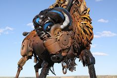 "Bronze sculptor John Lopez welds scrap metal from abandoned farm machinery to create these animal sculptures. ""I am a sculptor and love. Steel Sculpture, Sculpture Art, Sculpture Ideas, Steampunk, Old Farm Equipment, Scrap Metal Art, Animal Sculptures, Metal Sculptures, Garden Sculptures"