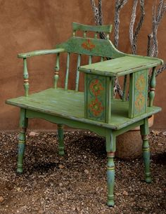 Hand-painted telephone bench by Rebecca Pavlik Painted Chairs, Hand Painted Furniture, Paint Furniture, Vintage Furniture, Chalk Paint Projects, Diy Wood Projects, Vintage Telephone Table, Gossip Bench, Antique Phone