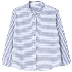 Printed Cotton Shirt (€31) ❤ liked on Polyvore featuring tops, shirts, striped shirt, three quarter sleeve tops, 3/4 length sleeve tops, cotton 3/4 sleeve tops and shirt top