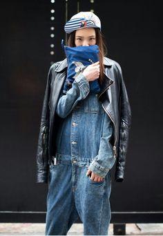 denim & leather. #IreneKim in NYC.