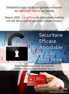 Besoin de déverrouiller votre cellulaire? www.MobileInCanada.com est la plus grande entreprise de déblocage mobile au Canada. Depuis 2005, 3.5 millions de téléphones mobiles ont été déverrouillés partout à travers le pays. Sécuritaire/Efficace/Abordable/Rapide/Pour la vie. Pour obtenir votre carte Sim gratuite, rendez-vous sur www.Distribu-Sim.ca ____  #Canada #deverrouillage #deblocage #cellulaire #telephone #Mobile #Securitaire #Fiable #abordable #Rapide #Gratuit #Sim Free Sims, Mobiles, Canada, Love Me Forever, My Love, Mobile Phones, Country, Business, Life