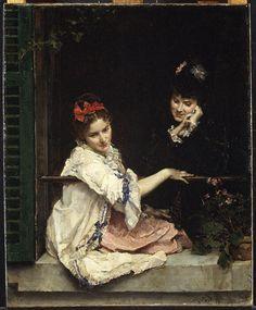 """""""niñas en una ventana"""" de Raimundo De Madrazo Y Garreta (1841-1920, Italy)"""