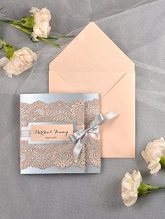 Vintage peach and silver lace wedding invitations