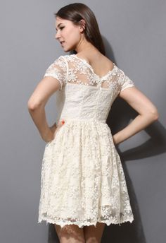 Full Floral Lace Dress with Mesh Shoulder