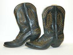 Womens Vintage Cowboy Boots Women's Size 7 Black Boots Vintage Retro Clothing