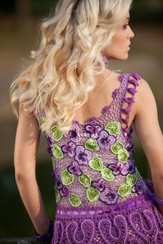 Letters and Arts of Lala: crochet blouse. LOVE the Purple and Green ~!~