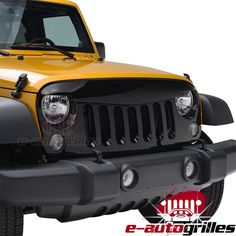 07-15 Jeep Wrangler JK ABS Black Angry Bird Replacement Packaged Grille Shell. #eAutoGrilles