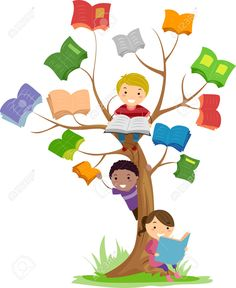 Stickman Illustration Of Kids Reading Books Growing Off A Tree Stock Photo, Picture And Royalty Free Image. School Board Decoration, School Decorations, Kids Reading Books, Reading Tree, Girl Reading, School Library Displays, Book Tree, School Murals, School Painting