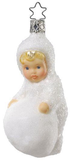 INGE GLAS SMALL BROWN SNOW GLITTER PINE CONE GERMAN GLASS CHRISTMAS ORNAMENT