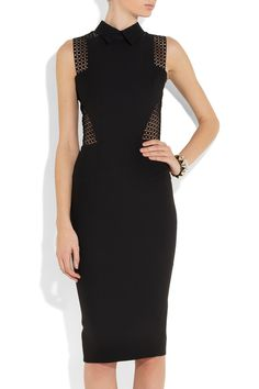 Victoria Beckham|Broderie anglaise-paneled silk and wool-blend dressfront view