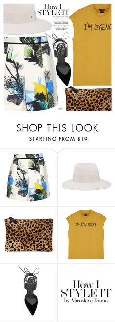 """""""Summery-Sunshine Style: Floral Shorts"""" by eclectic-chic ❤ liked on Polyvore featuring Proenza Schouler, Maison Michel, Clare V., Monki, René Caovilla, Rika, Floralshorts, Fedora, mixedprints and mustard"""
