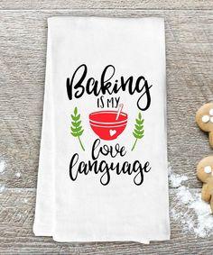 'Baking is My Love Language' Dish Towel | #kitchen #homedecor #quote #afflink