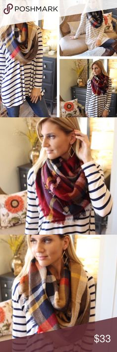 Coming Soon! Cozy Infinity Scarves  Plaid Infinity Scarfs. Three color choices. Red, Navy, & Neutral (Brown) Accessories Scarves & Wraps