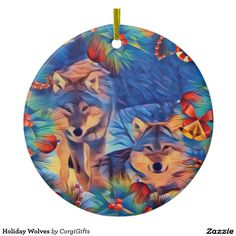 Holiday Wolves Ceramic Ornament