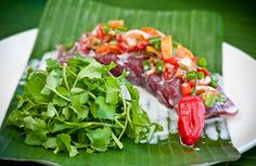Traditional Samoan salad! So natural and full of flavour!! #Sinaleireefresort #Samoa #Food