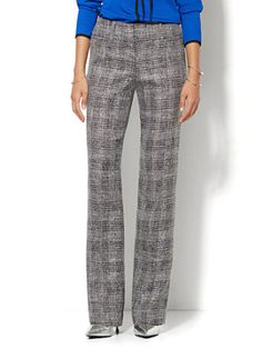 Shop 7th Avenue Design Studio Pant - Signature Fit - Bootcut - Black Plaid. Find your perfect size online at the best price at New York & Company.