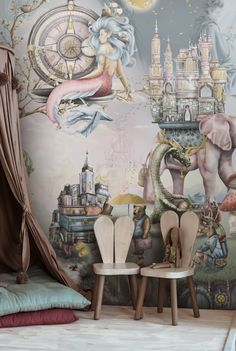 Beautiful Girls Bedroom with Fairy Tale Wallpaper