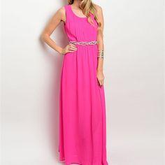 FREE U.S. SHIPPING Fuchsia Pink Maxi Dress Bead Detail Dress Embellished Waist Dress Pink Maxi Dress Bead Waist Maxi Dress Feminine Dress