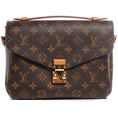 LOUIS VUITTON Monogram Pochette Metis ❤ liked on Polyvore featuring bags, handbags, brown purse, courier bag, brown handbags, locking messenger bag and messenger bag
