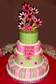 Lola's Daisies- Buttercream-Stacked cakes have a minimum of 50 servings and start at $9 per slice-custom quotes available