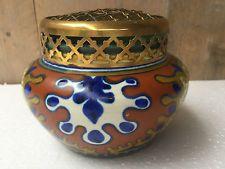 Gouda art pottery vase with brass flower frog Zuid Holland decor Rhodian, 1920