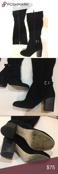 BCBG Suede Boots Gorgeous!!! Black suede BCBGeneration boots. Zip-up boots with chunky heel and buckle detail. Very comfortable. Hardly worn. Great condition! BCBGeneration Shoes