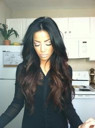 black hair with brown ombre look...my everyday look you can get this color by using kalediocolors ( natural) in the brown back and 20 v developer ...those who are first time colorist you can also buy red drops color corrector all sold at sallys for under $15