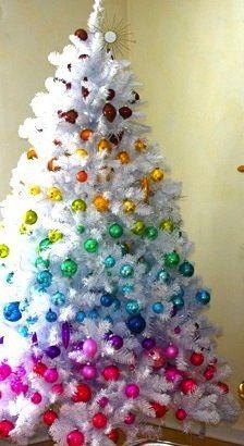Colorful Christmas tree Rainbow tree for twig Rainbow Christmas Tree, White Christmas Trees, Noel Christmas, Retro Christmas, Christmas Colors, Christmas Projects, Beautiful Christmas, Winter Christmas, Christmas Tree Decorations