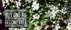 Summer Promotion!  Advertise your blog, shop, or product on My So-Called Chaos (lots of different options and LOTS of promotion) and get TWO months for the price of one!
