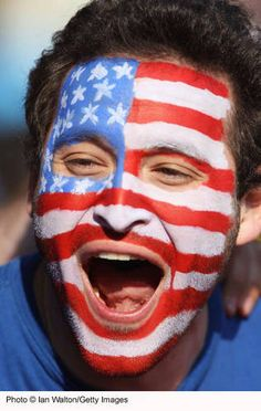 Flag Face Painting: USA