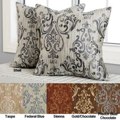 @Overstock - Elegant and sophisticated, this set of Roman throw pillows is a lovely accent to any room in your home. These decorative pillows showcase a damask pattern.http://www.overstock.com/Home-Garden/Roman-18-inch-Decorative-Pillows-Set-of-2/5277436/product.html?CID=214117 $37.99