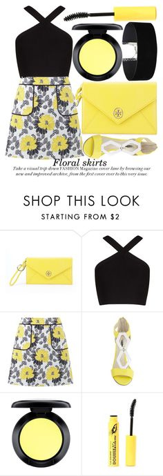 """""""FLORAL SKIRTS"""" by noraaaaaaaaa ❤ liked on Polyvore featuring Tory Burch, BCBGMAXAZRIA, Miss Selfridge, BCBGeneration, MAC Cosmetics, L.A. Colors, yellow, black, ToryBurch and yellowandblack"""