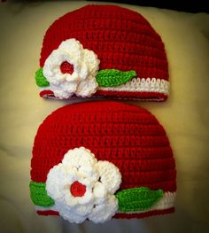 906a5cf702d Mother and daughter matching red crochet hats  gift for her  christmas hats   matching mother and daughter hat  floral hat siblings hat
