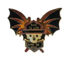 c086d27cbcce RIDE To LIVE To RIDE vintage motorcycle metal enamel pin skull with wings  biker