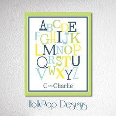 Nursery Wall Decor-Alphabet Typography Art Print-Baby Boy Bedroom Decor-Art Prints for Kids-Baby Decor-Poster Print-Custom Colors via Etsy