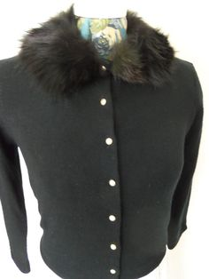 Vintage Black Sweater with Fur CollarPearl by SusieQsVintageShop, $33.00