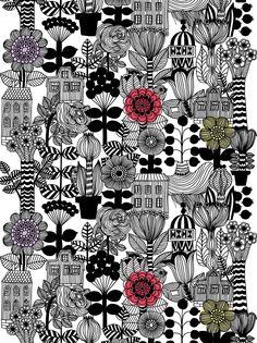 Marimekko flower print. Vintage style with minimal colour.