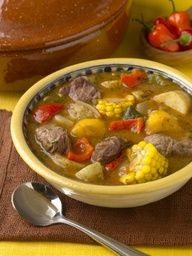 "Sancocho aka Salcocho a Puertorican Soup   Sancocho (from the Spanish verb sancochar, ""to parboil"") is a traditional soup (often considered a stew)."