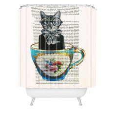 Coco de Paris Cat In A Cup Shower Curtain | DENY Designs Home Accessories