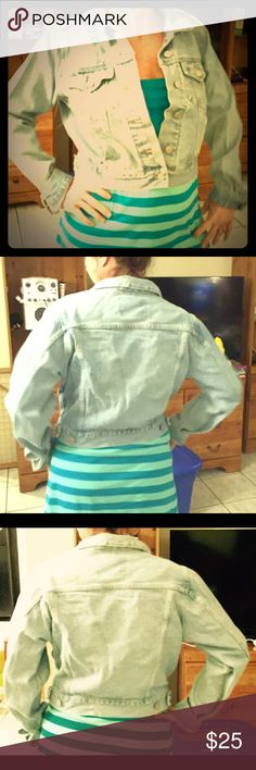 Abercrombie & Fitch Light Blue Jean Jacket. Beautiful Gently Used Denim Jacket. Light Blue Jean. All buttons and snaps are present and functioning. No holes, tears, or worn out marks. High waist style. Price is negotiable! Excellent condition. Abercrombie & Fitch Jackets & Coats Jean Jackets